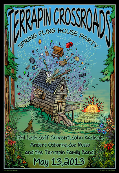 Terrapin Crossroads Spring Fling House Party May 2013 Poster Art by Michael DuBois